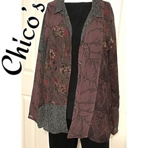 Chico's Boho Sheer Shirt Size 2 (L 12)